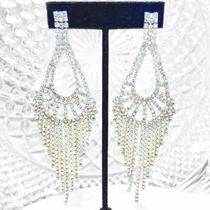 "PROM PAGEANT 5"" AB Crystal Occasion Earrings"